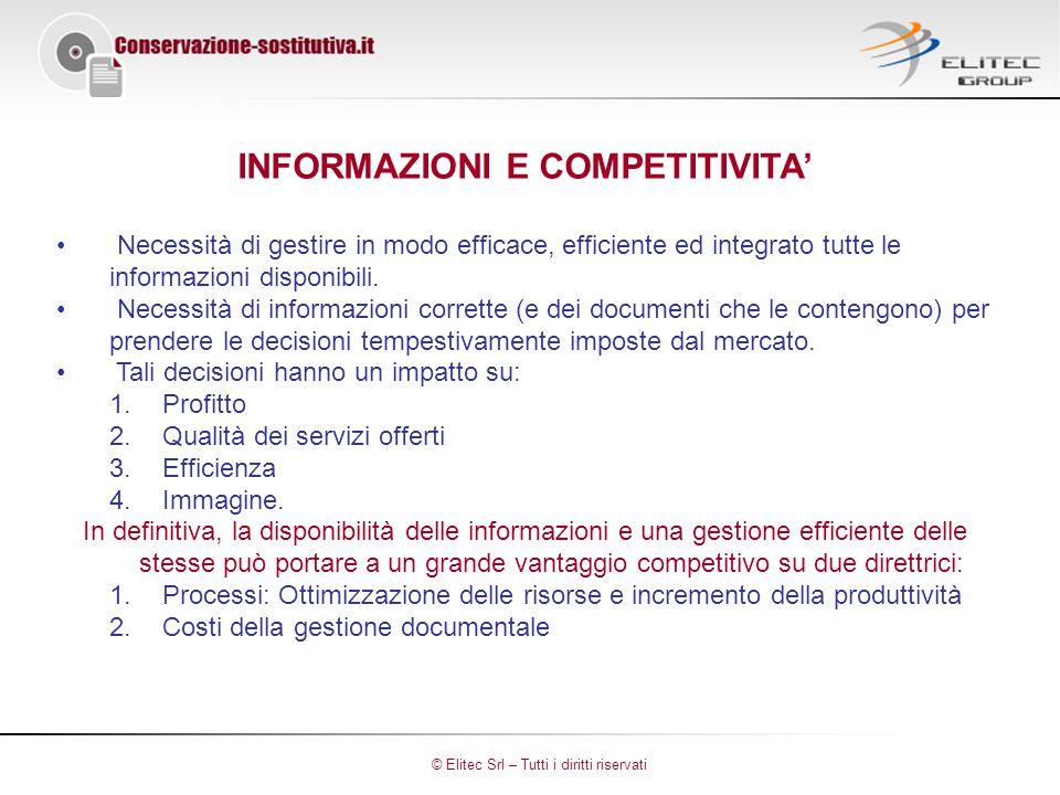 INFORMAZIONI E COMPETITIVITA' Necessità di gestire in modo efficace, efficiente ed integrato tutte le informazioni disponibili.