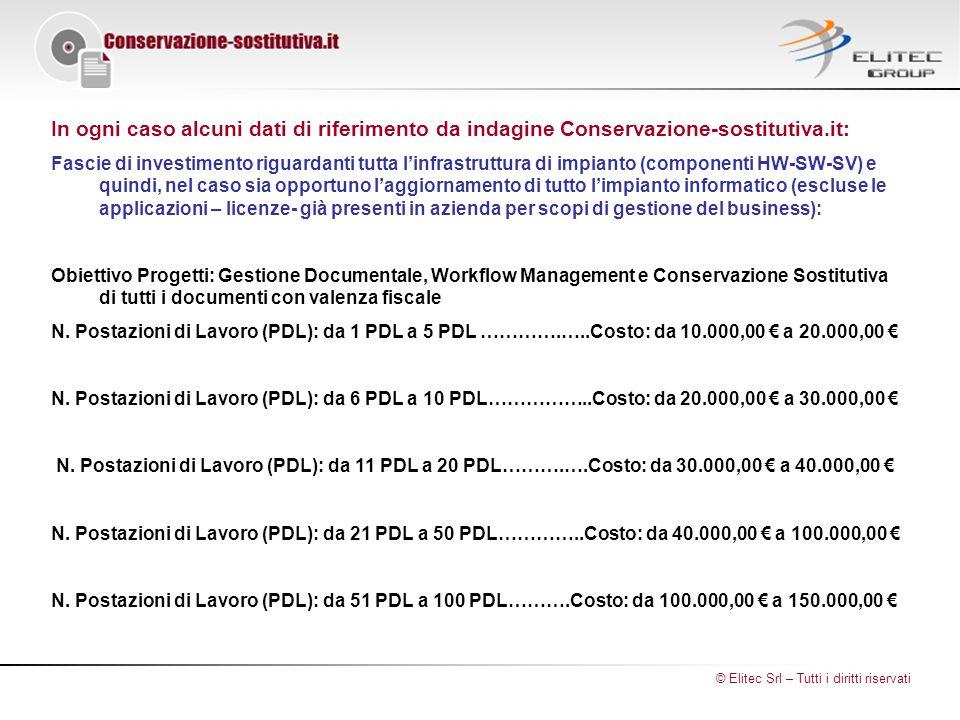 In ogni caso alcuni dati di riferimento da indagine Conservazione-sostitutiva.it: Fascie di investimento riguardanti tutta l'infrastruttura di impianto (componenti HW-SW-SV) e quindi, nel caso sia opportuno l'aggiornamento di tutto l'impianto informatico (escluse le applicazioni – licenze- già presenti in azienda per scopi di gestione del business): Obiettivo Progetti: Gestione Documentale, Workflow Management e Conservazione Sostitutiva di tutti i documenti con valenza fiscale N.