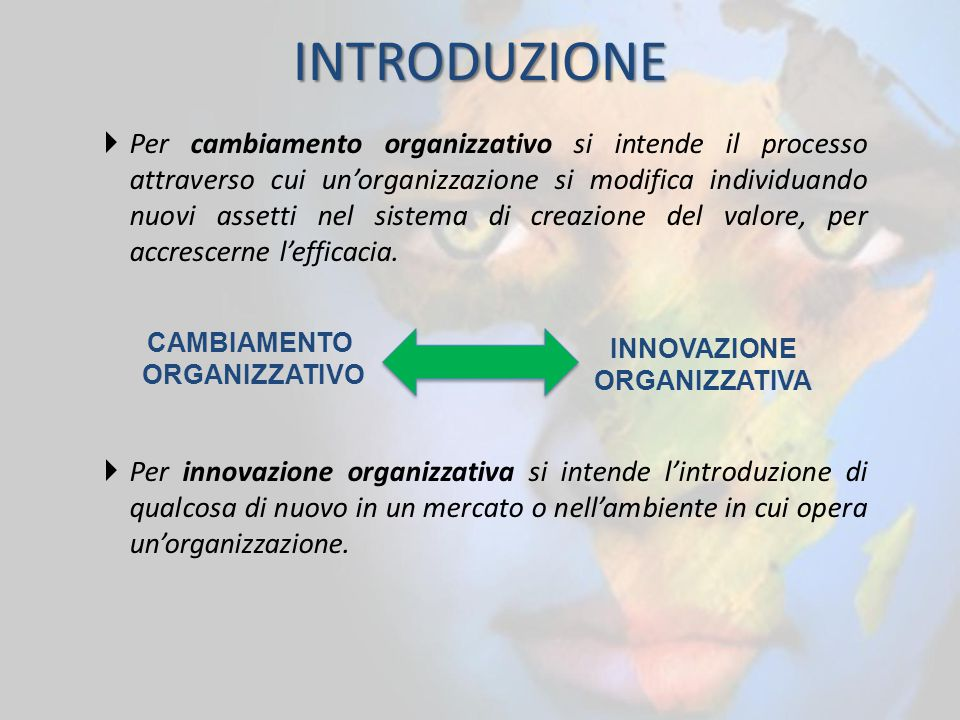 INTRODUZIONE  Per cambiamento organizzativo si intende il processo attraverso cui un'organizzazione si modifica individuando nuovi assetti nel sistem