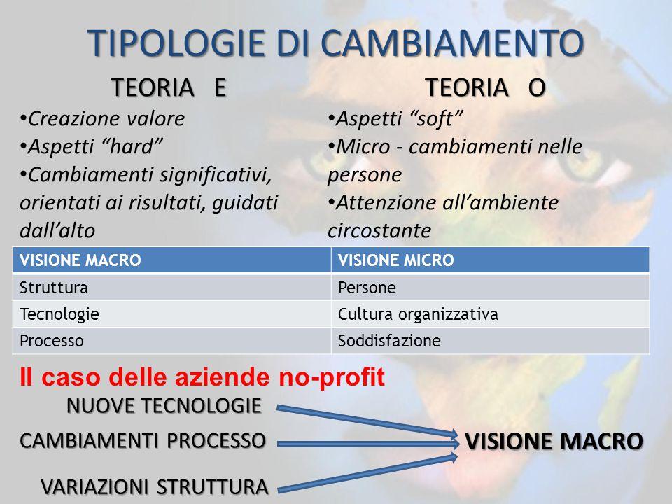 VISIONE MACROVISIONE MICRO StrutturaPersone TecnologieCultura organizzativa ProcessoSoddisfazione Il caso delle aziende no-profit TEORIA E Creazione v