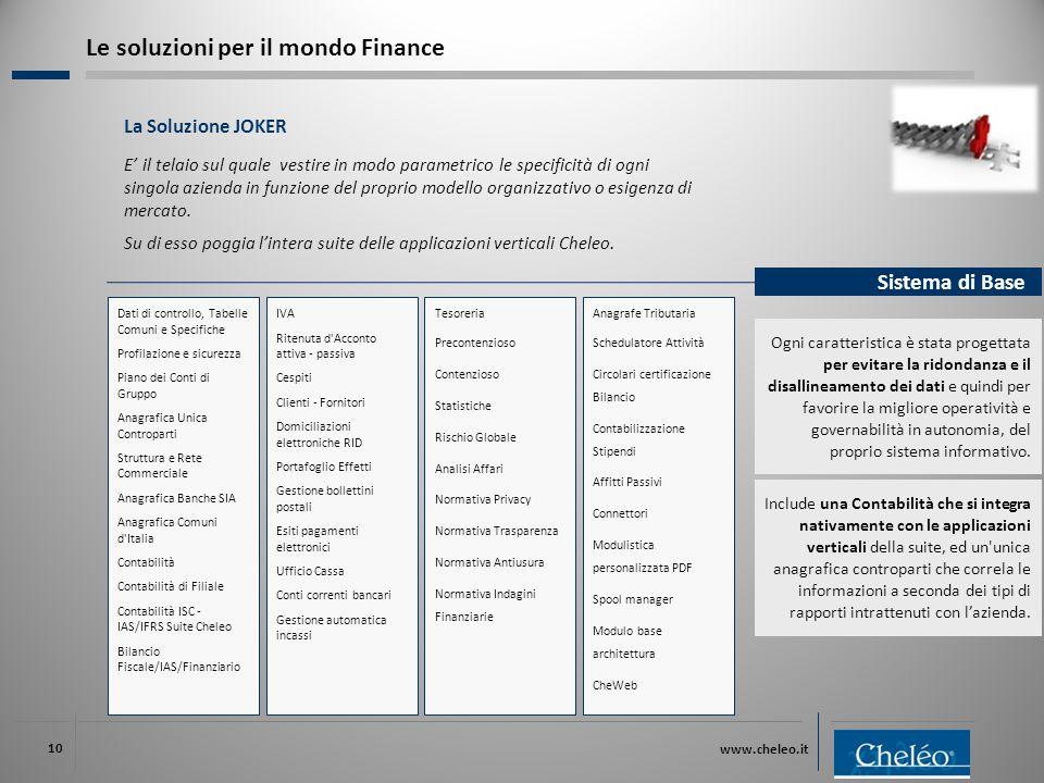 www.cheleo.it 10 La Soluzione JOKER E' il telaio sul quale vestire in modo parametrico le specificità di ogni singola azienda in funzione del proprio modello organizzativo o esigenza di mercato.