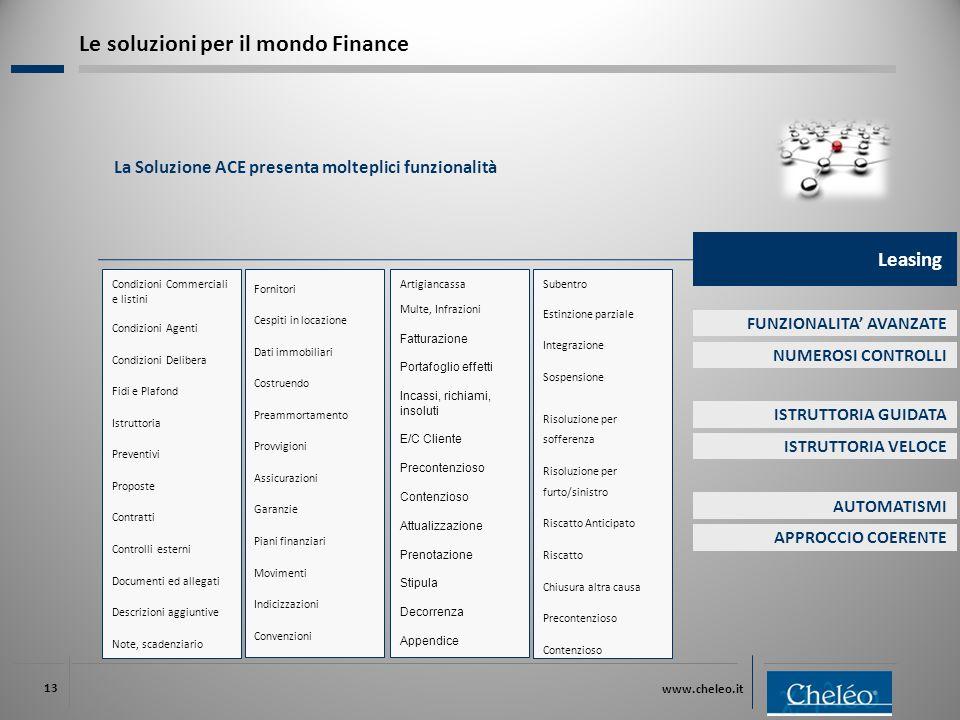 www.cheleo.it 13 La Soluzione ACE presenta molteplici funzionalità Le soluzioni per il mondo Finance Condizioni Commerciali e listini Condizioni Agent