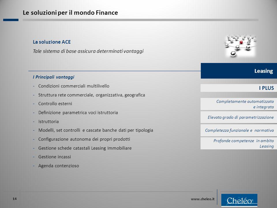 www.cheleo.it 14 I PLUS I Principali vantaggi ‐ Condizioni commerciali multilivello ‐ Struttura rete commerciale, organizzativa, geografica ‐ Controll