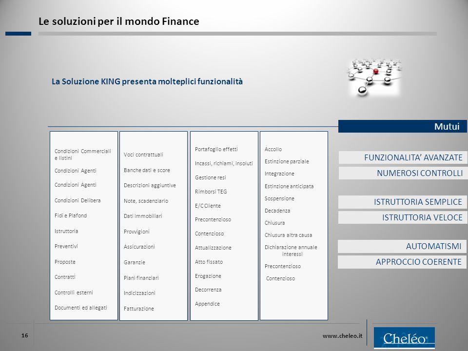 www.cheleo.it 16 La Soluzione KING presenta molteplici funzionalità Mutui Le soluzioni per il mondo Finance Condizioni Commerciali e listini Condizion