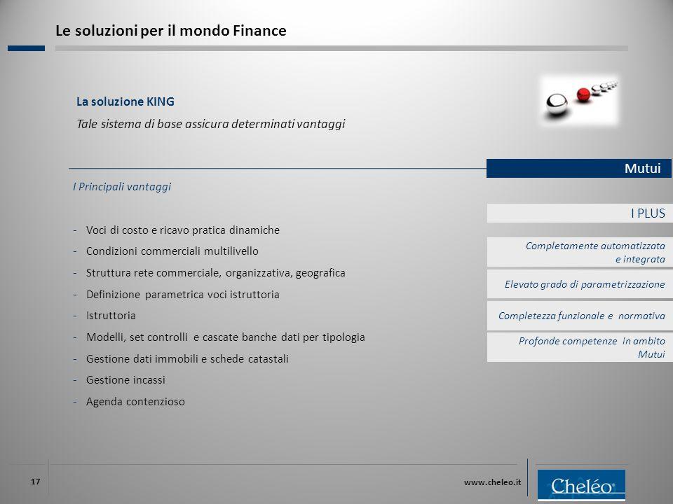 www.cheleo.it 17 I PLUS I Principali vantaggi ‐ Voci di costo e ricavo pratica dinamiche ‐ Condizioni commerciali multilivello ‐ Struttura rete commer