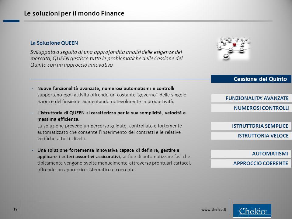 www.cheleo.it 18 La Soluzione QUEEN Sviluppata a seguito di una approfondita analisi delle esigenze del mercato, QUEEN gestisce tutte le problematiche