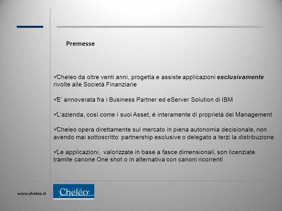 www.cheleo.it Premesse Cheleo da oltre venti anni, progetta e assiste applicazioni esclusivamente rivolte alle Società Finanziarie E' annoverata fra i