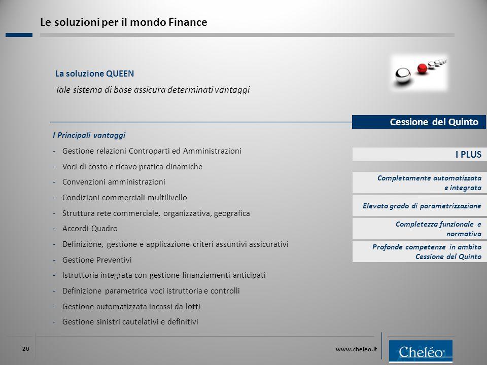 www.cheleo.it 20 I PLUS I Principali vantaggi ‐ Gestione relazioni Controparti ed Amministrazioni ‐ Voci di costo e ricavo pratica dinamiche ‐ Convenz