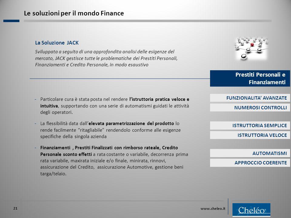 www.cheleo.it 21 La Soluzione JACK Sviluppata a seguito di una approfondita analisi delle esigenze del mercato, JACK gestisce tutte le problematiche d