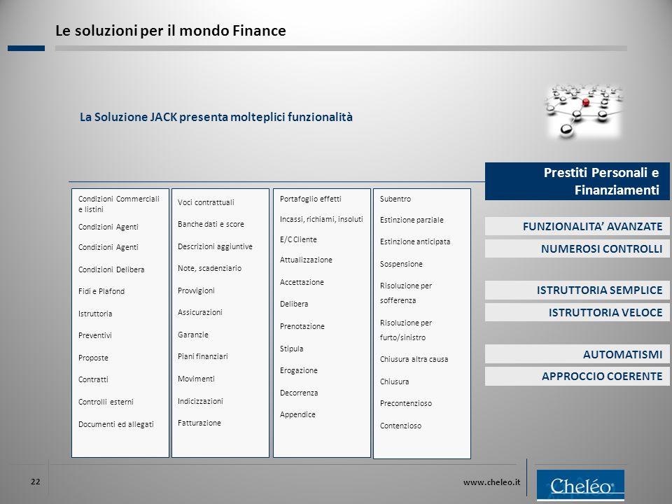 www.cheleo.it 22 La Soluzione JACK presenta molteplici funzionalità Le soluzioni per il mondo Finance Condizioni Commerciali e listini Condizioni Agen