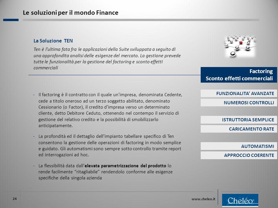 www.cheleo.it 24 La Soluzione TEN Ten è l'ultima fata fra le applicazioni della Suite sviluppata a seguito di una approfondita analisi delle esigenze del mercato.