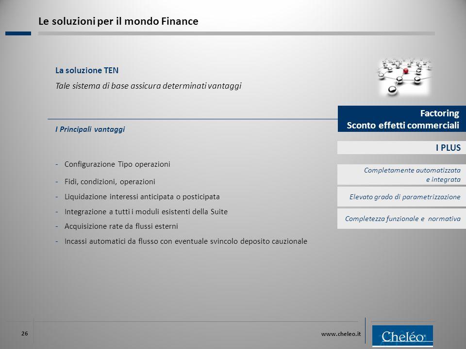 www.cheleo.it 26 I PLUS I Principali vantaggi ‐ Configurazione Tipo operazioni ‐ Fidi, condizioni, operazioni ‐ Liquidazione interessi anticipata o po