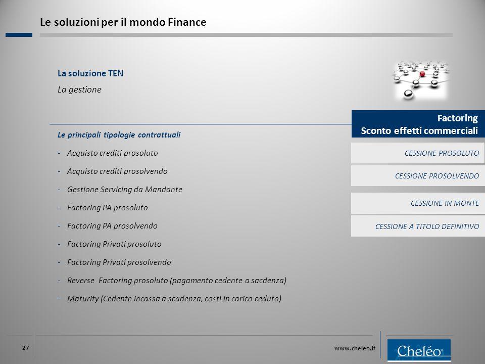 www.cheleo.it 27 Le principali tipologie contrattuali ‐ Acquisto crediti prosoluto ‐ Acquisto crediti prosolvendo ‐ Gestione Servicing da Mandante ‐ F