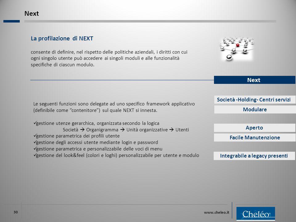 www.cheleo.it 30 La profilazione di NEXT consente di definire, nel rispetto delle politiche aziendali, i diritti con cui ogni singolo utente può accedere ai singoli moduli e alle funzionalità specifiche di ciascun modulo.