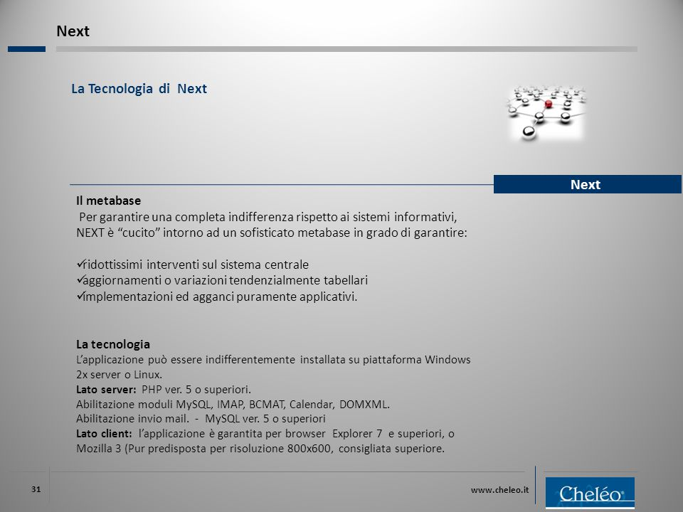 """www.cheleo.it 31 La Tecnologia di Next Next Il metabase Per garantire una completa indifferenza rispetto ai sistemi informativi, NEXT è """"cucito"""" intor"""