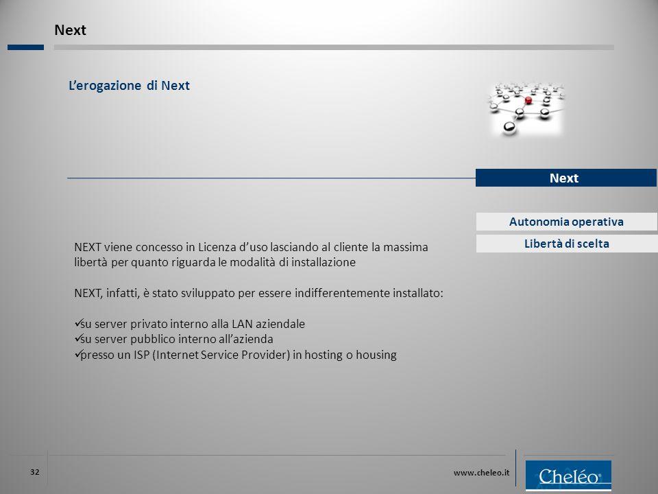 www.cheleo.it 32 L'erogazione di Next Next Autonomia operativa Libertà di scelta NEXT viene concesso in Licenza d'uso lasciando al cliente la massima libertà per quanto riguarda le modalità di installazione NEXT, infatti, è stato sviluppato per essere indifferentemente installato: su server privato interno alla LAN aziendale su server pubblico interno all'azienda presso un ISP (Internet Service Provider) in hosting o housing