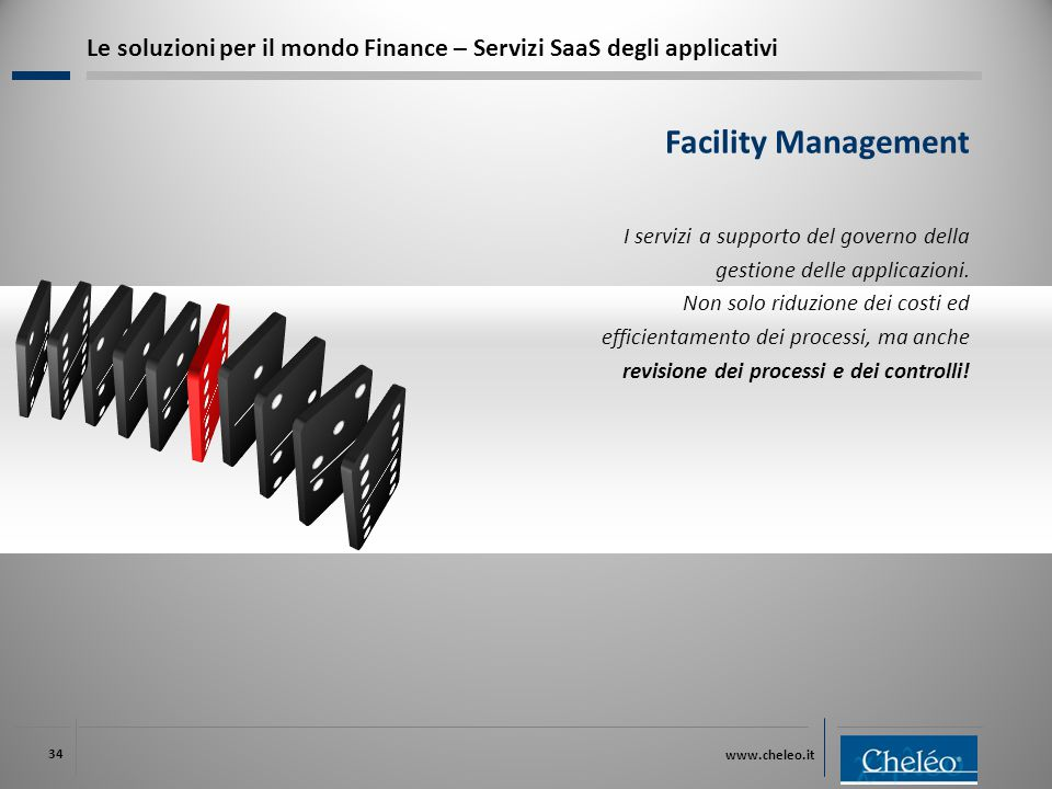 www.cheleo.it 34 Le soluzioni per il mondo Finance – Servizi SaaS degli applicativi I servizi a supporto del governo della gestione delle applicazioni.
