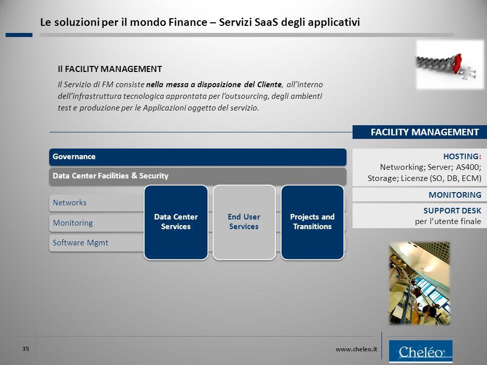www.cheleo.it 35 Il FACILITY MANAGEMENT Il Servizio di FM consiste nella messa a disposizione del Cliente, all'interno dell'infrastruttura tecnologica