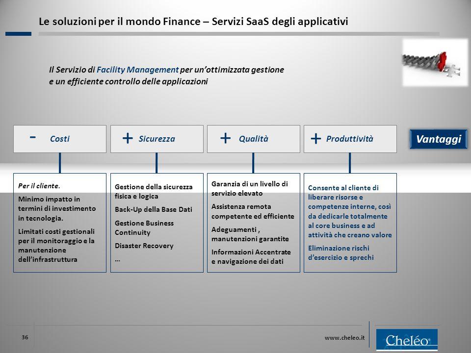 www.cheleo.it 36 Costi Per il cliente. Minimo impatto in termini di investimento in tecnologia. Limitati costi gestionali per il monitoraggio e la man
