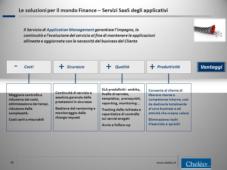 www.cheleo.it 39 Costi Maggiore controllo e riduzione dei costi, ottimizzazione dei tempi, riduzione della complessità. Costi certi e misurabili Sicur