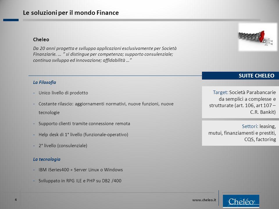 www.cheleo.it 4 Cheleo Da 20 anni progetta e sviluppa applicazioni esclusivamente per Società Finanziarie....