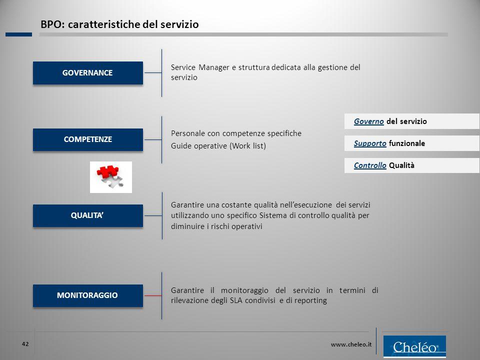www.cheleo.it 42 MONITORAGGIO Garantire il monitoraggio del servizio in termini di rilevazione degli SLA condivisi e di reporting Supporto funzionale