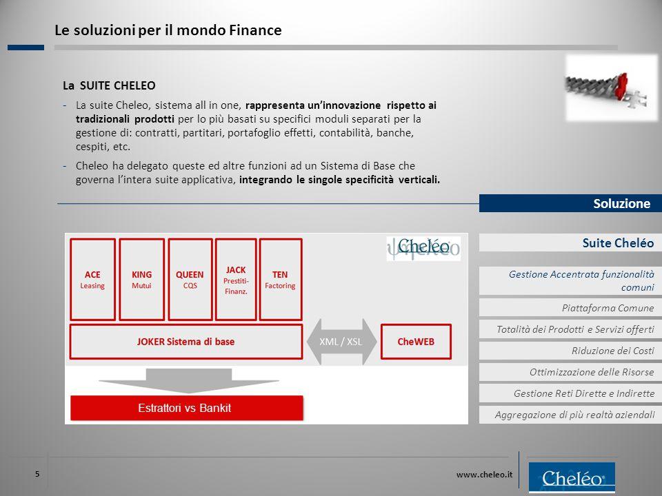 www.cheleo.it 5 Soluzione Suite Cheléo La SUITE CHELEO ‐ La suite Cheleo, sistema all in one, rappresenta un'innovazione rispetto ai tradizionali prodotti per lo più basati su specifici moduli separati per la gestione di: contratti, partitari, portafoglio effetti, contabilità, banche, cespiti, etc.