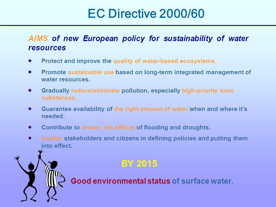 INTEGRATION  between the use of the water resources and protection of the natual ecologic state of the water environment  the management of the surface and ground water  between the aspects connected to the quantity of water and the ones related to its quality  between the actions and the environment objectives Art.