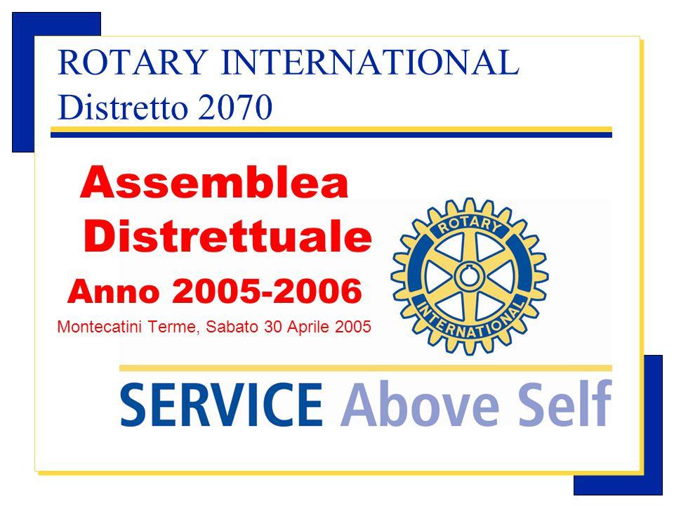 Carlo Michelotti, Gov.Distr.1980 (1996/97) ROTARY INTERNATIONAL Distretto 2070 Assemblea Distrettuale Anno 2005-2006 Montecatini Terme, Sabato 30 Aprile 2005