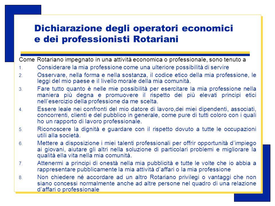 Carlo Michelotti, Gov.Distr.1980 (1996/97) Dichiarazione degli operatori economici e dei professionisti Rotariani Come Rotariano impegnato in una attività economica o professionale, sono tenuto a 1.
