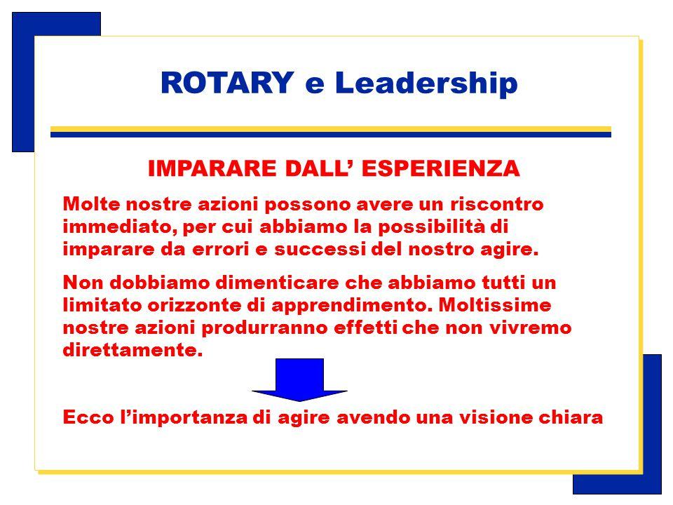 Carlo Michelotti, Gov.Distr.1980 (1996/97) IMPARARE DALL' ESPERIENZA Molte nostre azioni possono avere un riscontro immediato, per cui abbiamo la possibilità di imparare da errori e successi del nostro agire.