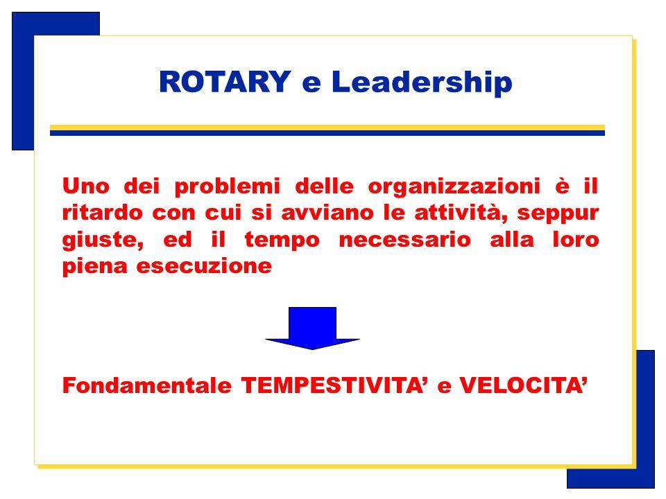 Carlo Michelotti, Gov.Distr.1980 (1996/97) Uno dei problemi delle organizzazioni è il ritardo con cui si avviano le attività, seppur giuste, ed il tempo necessario alla loro piena esecuzione Fondamentale TEMPESTIVITA' e VELOCITA' ROTARY e Leadership