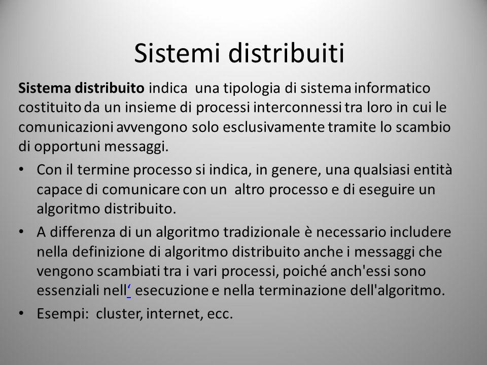 Sistemi distribuiti Sistema distribuito indica una tipologia di sistema informatico costituito da un insieme di processi interconnessi tra loro in cui le comunicazioni avvengono solo esclusivamente tramite lo scambio di opportuni messaggi.