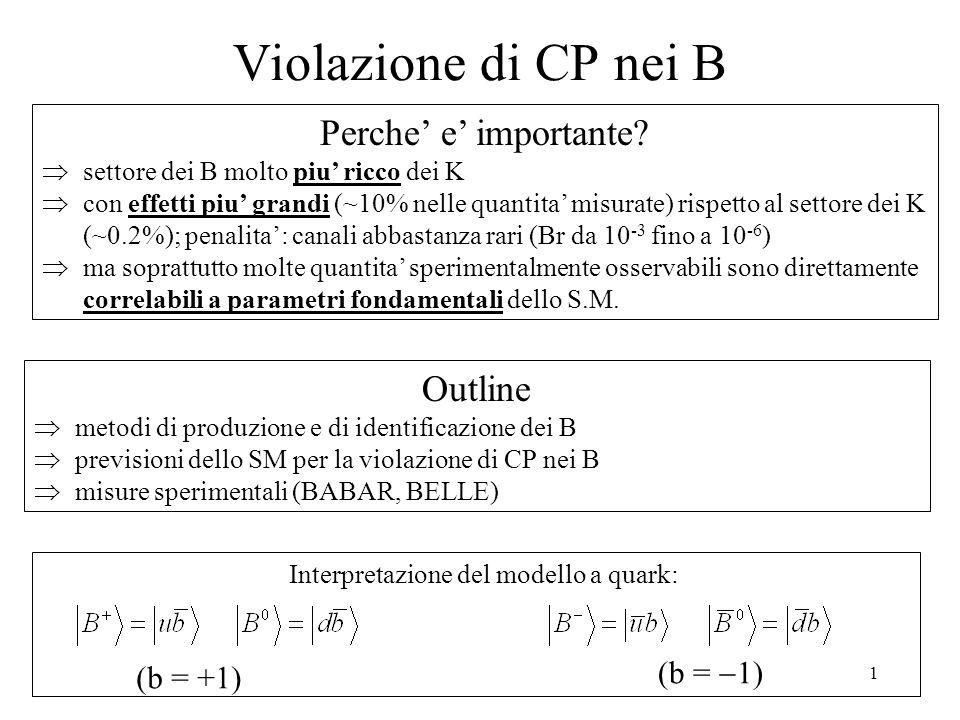 1 Violazione di CP nei B Interpretazione del modello a quark: (b = +1) (b =  1) Perche' e' importante.