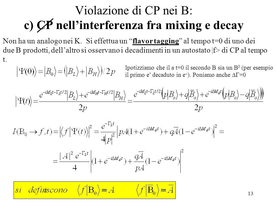 13 Violazione di CP nei B: c) CP nell'interferenza fra mixing e decay Ipotizziamo che il a t=0 il secondo B sia un B 0 (per esempio il primo e' decaduto in e  ).