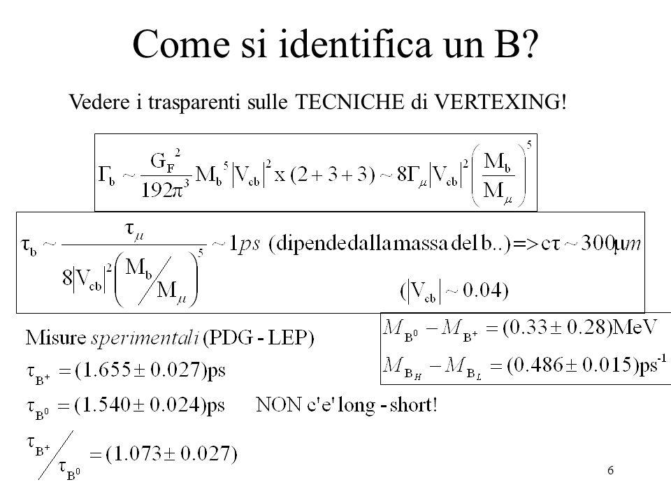7 Formalismo dei B neutri In analogia con i K: (Si e' assunto CPT invariance) Spesso si approssima  H =  L = 