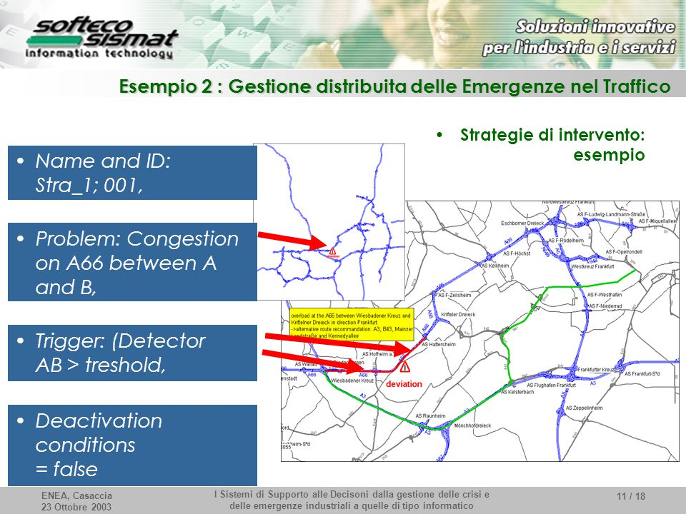 ENEA, Casaccia 23 Ottobre 2003 I Sistemi di Supporto alle Decisoni dalla gestione delle crisi e delle emergenze industriali a quelle di tipo informatico 11 / 18 Esempio 2 : Gestione distribuita delle Emergenze nel Traffico Strategie di intervento: esempio Name and ID: Stra_1; 001, Problem: Congestion on A66 between A and B, Trigger: (Detector AB > treshold, Deactivation conditions = false