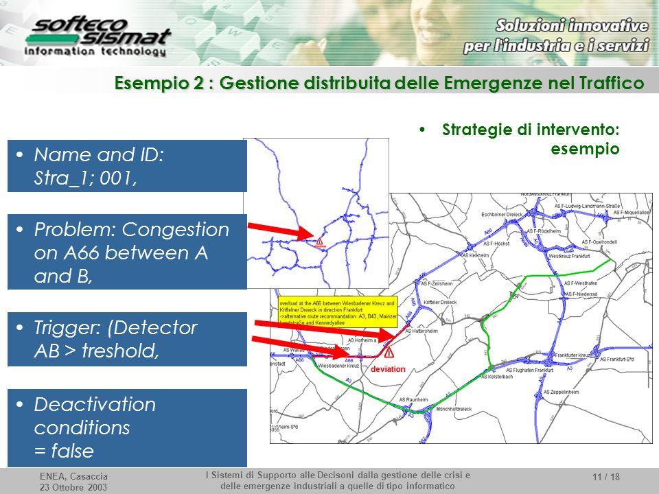 ENEA, Casaccia 23 Ottobre 2003 I Sistemi di Supporto alle Decisoni dalla gestione delle crisi e delle emergenze industriali a quelle di tipo informati