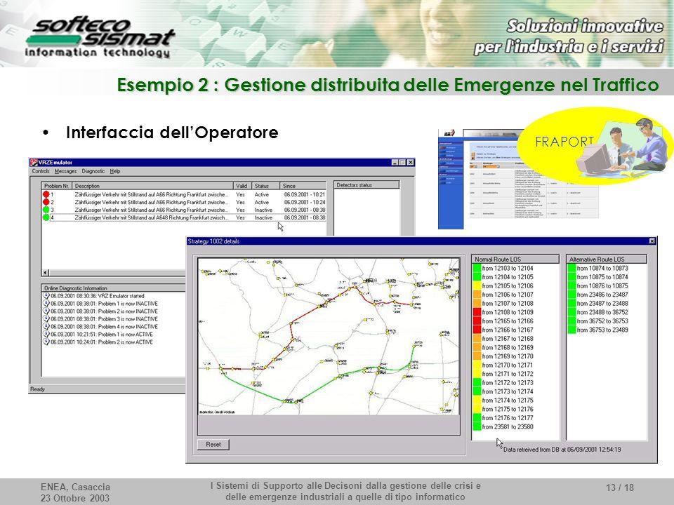 ENEA, Casaccia 23 Ottobre 2003 I Sistemi di Supporto alle Decisoni dalla gestione delle crisi e delle emergenze industriali a quelle di tipo informatico 13 / 18 Esempio 2 : Gestione distribuita delle Emergenze nel Traffico Interfaccia dell'Operatore FRAPORT