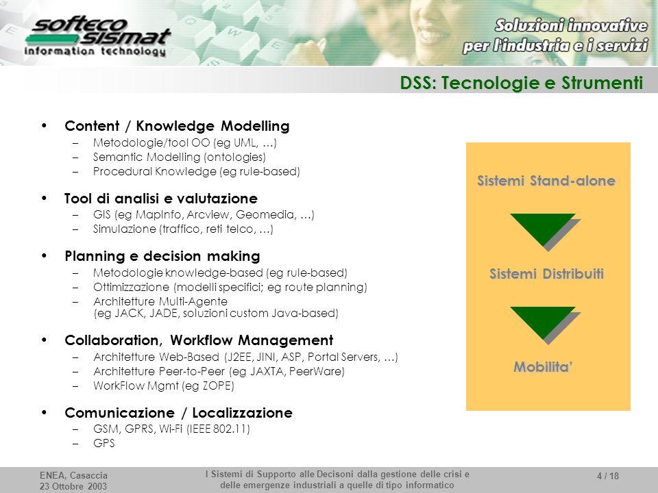 ENEA, Casaccia 23 Ottobre 2003 I Sistemi di Supporto alle Decisoni dalla gestione delle crisi e delle emergenze industriali a quelle di tipo informatico 4 / 18 DSS: Tecnologie e Strumenti Content / Knowledge Modelling –Metodologie/tool OO (eg UML, …) –Semantic Modelling (ontologies) –Procedural Knowledge (eg rule-based) Tool di analisi e valutazione –GIS (eg MapInfo, Arcview, Geomedia, …) –Simulazione (traffico, reti telco, …) Planning e decision making –Metodologie knowledge-based (eg rule-based) –Ottimizzazione (modelli specifici; eg route planning) –Architetture Multi-Agente (eg JACK, JADE, soluzioni custom Java-based) Collaboration, Workflow Management –Architetture Web-Based (J2EE, JINI, ASP, Portal Servers, …) –Architetture Peer-to-Peer (eg JAXTA, PeerWare) –WorkFlow Mgmt (eg ZOPE) Comunicazione / Localizzazione –GSM, GPRS, Wi-Fi (IEEE 802.11) –GPS Sistemi Stand-alone Sistemi Distribuiti Mobilita'
