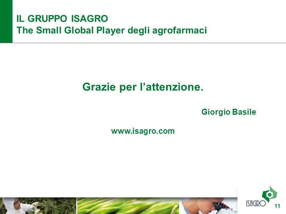 Grazie per l'attenzione. Giorgio Basile www.isagro.com IL GRUPPO ISAGRO The Small Global Player degli agrofarmaci 11