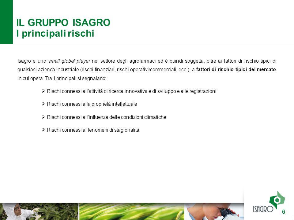 IL GRUPPO ISAGRO I principali rischi 6 Isagro è uno small global player nel settore degli agrofarmaci ed è quindi soggetta, oltre ai fattori di rischi