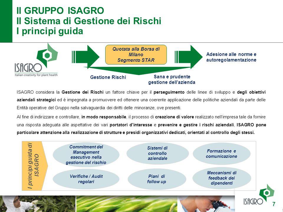 Il GRUPPO ISAGRO Il Sistema di Gestione dei Rischi I principi guida 7 ISAGRO considera la Gestione dei Rischi un fattore chiave per il perseguimento d