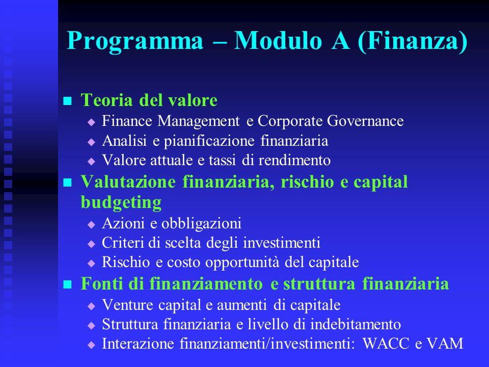 Programma – Modulo A (Finanza) Teoria del valore   Finance Management e Corporate Governance   Analisi e pianificazione finanziaria   Valore att