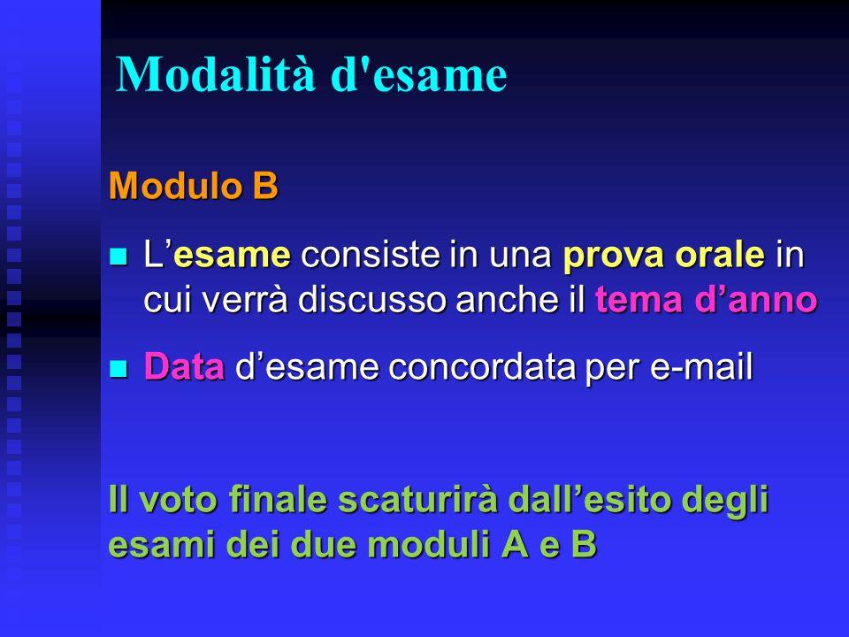 Modalità d'esame Modulo B L'esame consiste in una prova orale in cui verrà discusso anche il tema d'anno L'esame consiste in una prova orale in cui ve