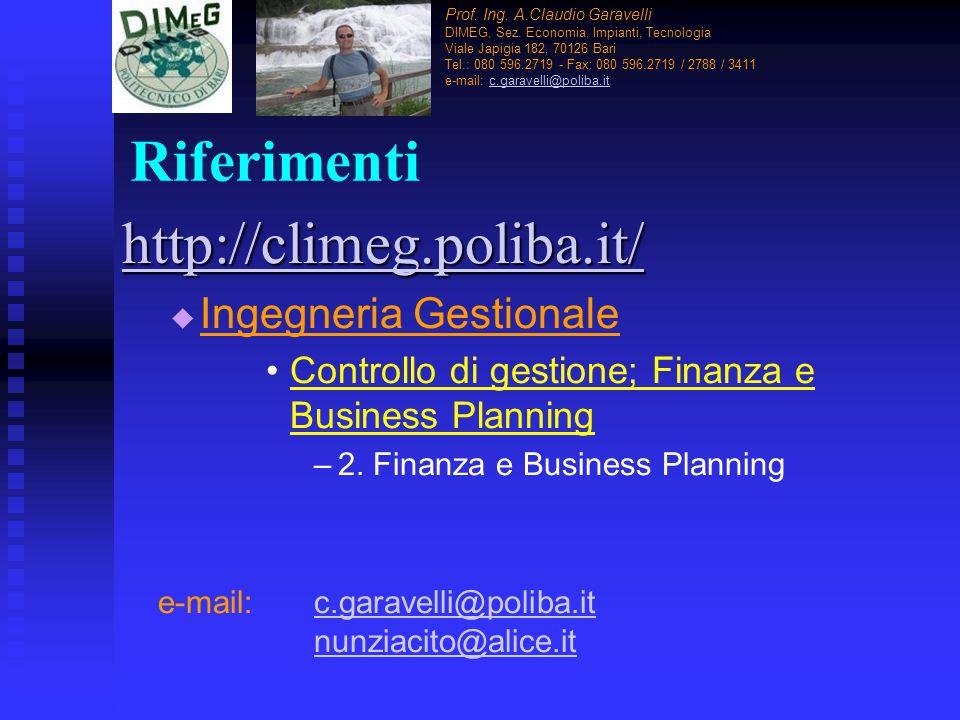 Riferimenti http://climeg.poliba.it/   Ingegneria Gestionale Controllo di gestione; Finanza e Business Planning – –2. Finanza e Business Planning e-