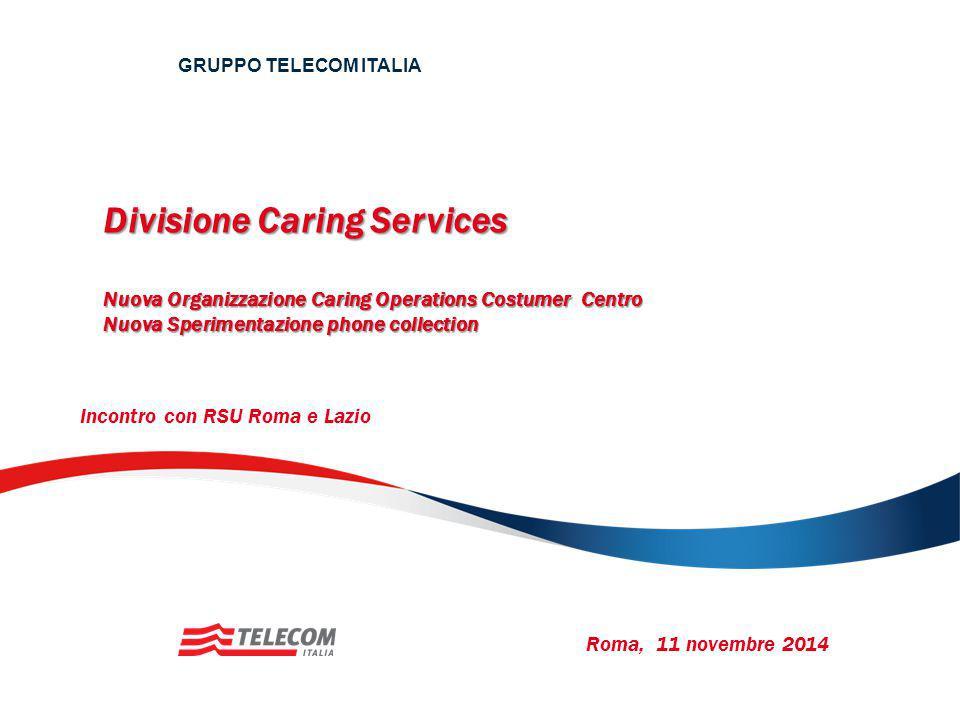 Divisione Caring Services Nuova Organizzazione Caring Operations Costumer Centro Nuova Sperimentazione phone collection GRUPPO TELECOM ITALIA Roma, 11