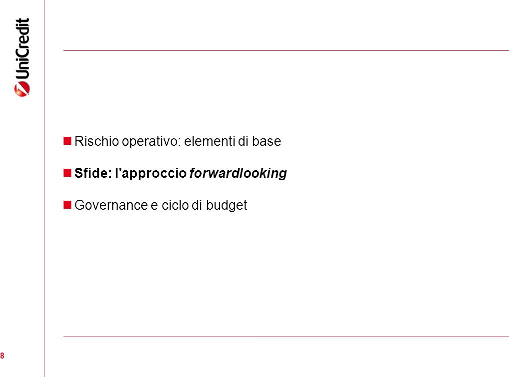 19 GOVERNANCE: STRATEGIE E CICLO DI BUDGET LEGACY RISCHI RICORRENTI RISCHI EMERGENTI STRATEGIES strategies implementation scope RESIDUAL RISK Mitigation investments HR / training initiatives Risk transfer - insurance BUDGET CYCLE STRATEGIES FUNDING RISK APPETITE APPROVAZIONE CDA