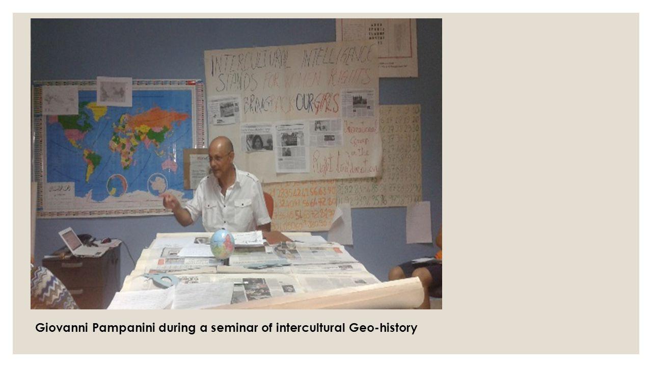 Giovanni Pampanini during a seminar of intercultural Geo-history