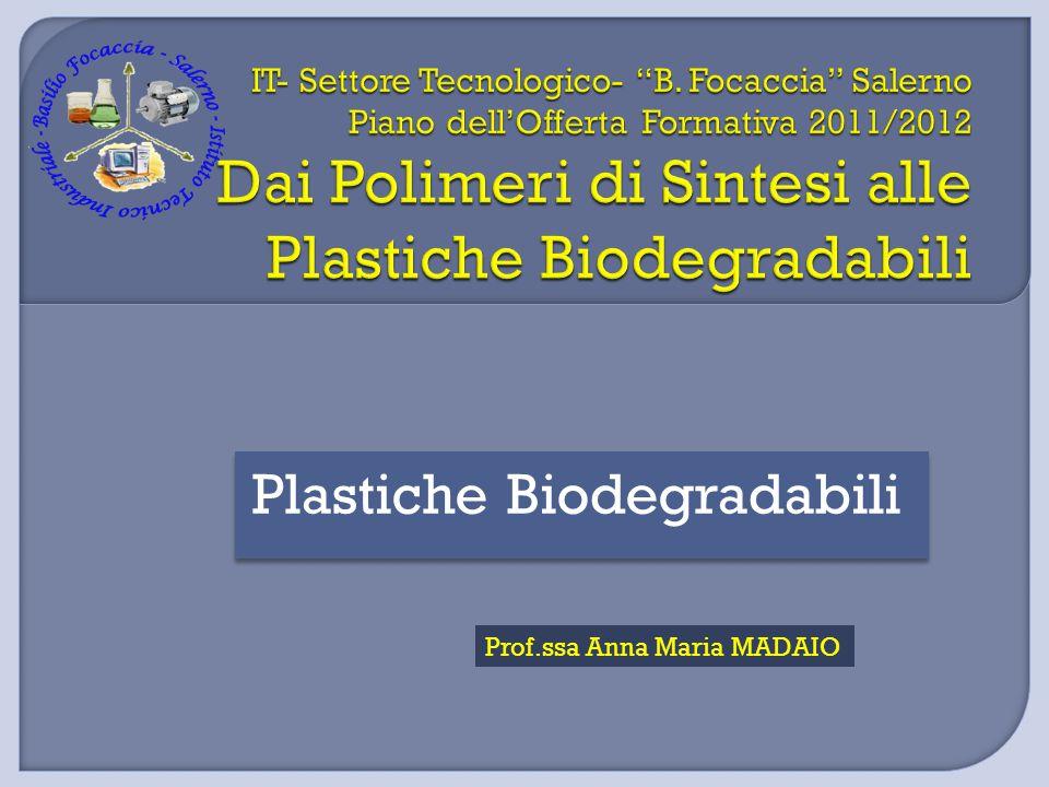 Sono costituiti da molecole a basso impatto ambientale Sintetici (derivati dal petrolio) Poliesteri Polivinilalcoli (PVA) Naturali (da sorgenti biologiche) Polisaccaridi Proteine Poliesteri da microorganismi FONTE NON RINNOVABILE FONTERINNOVABILE